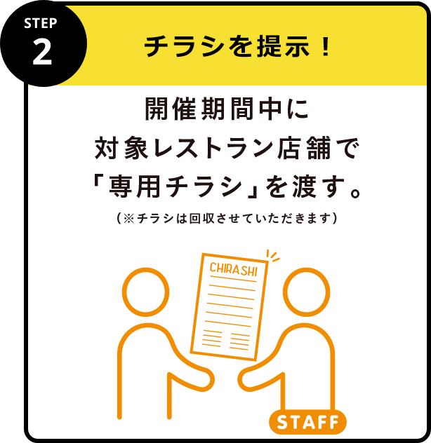STEP2 レシートを提示!当日中に対象レストラン店舗でレシートを提示。
